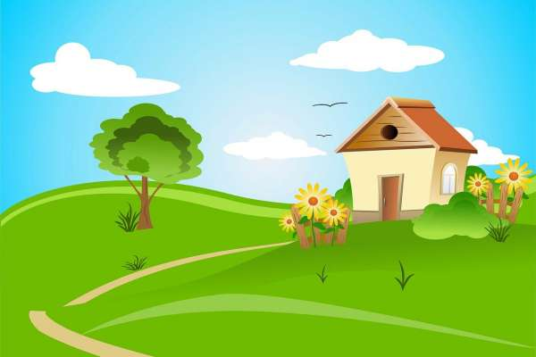 computer drawing of a home on green hills, blue sky, yellow flowers
