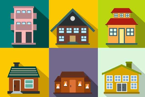 six graphic images of houses